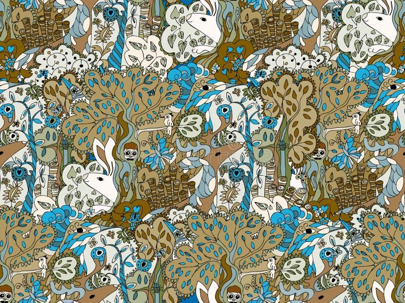 不可思议的神仙的森林无缝的传染媒介样式 美妙的动物鹿猫头鹰,在乱画样式的一只鸟 向量例证