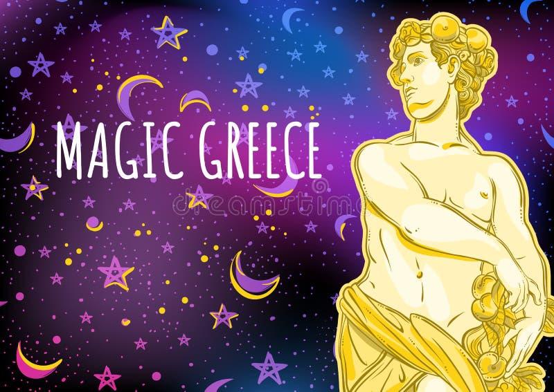 不可思议的空间背景的美丽的希腊上帝 古希腊的神话英雄 外层空间传染媒介例证 库存例证