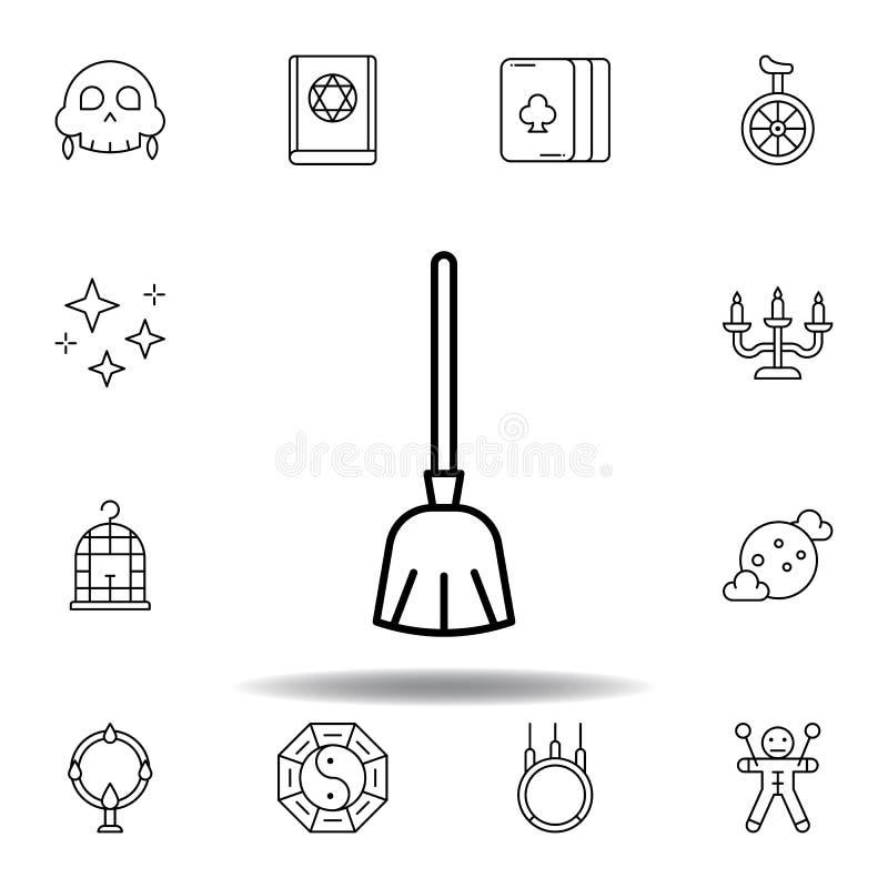 不可思议的笤帚概述象 不可思议的例证线象的元素 标志,标志可以为网,商标,流动应用程序,UI,UX使用 库存例证