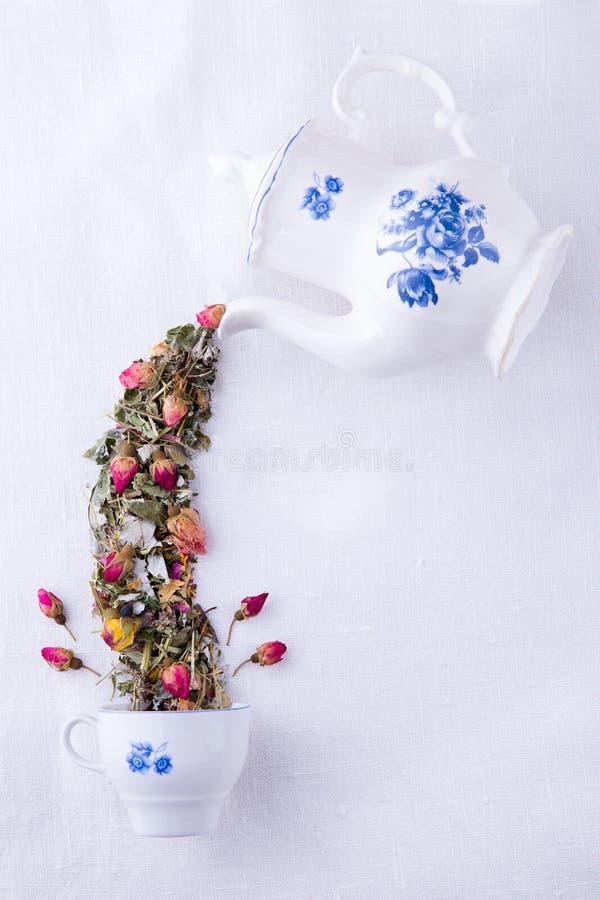不可思议的茶壶用玫瑰茶 免版税库存图片
