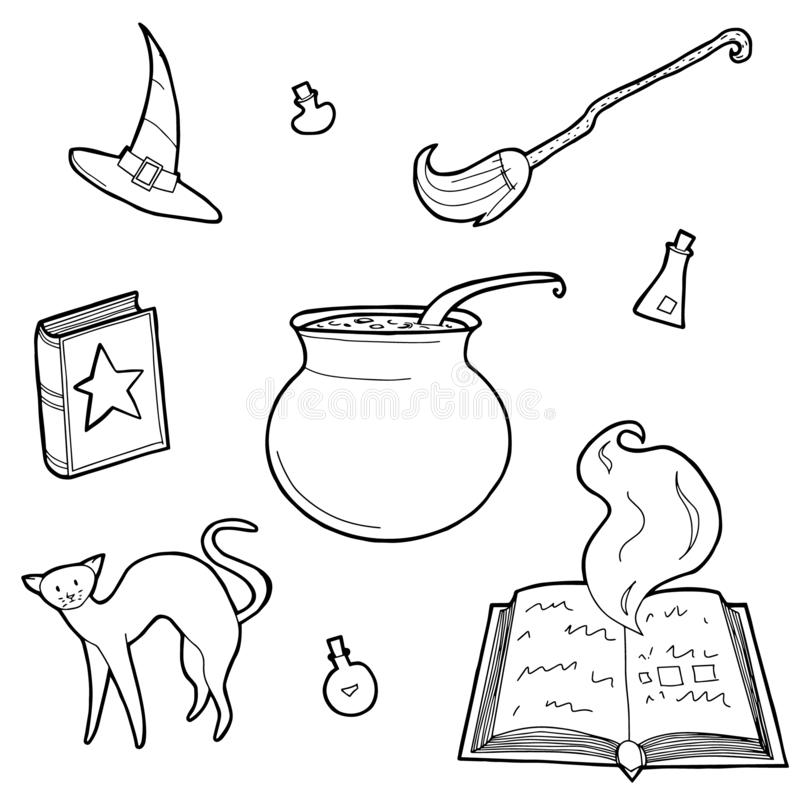 不可思议的设计元素集的传染媒介例证 手拉,乱画,剪影魔术师汇集 皇族释放例证