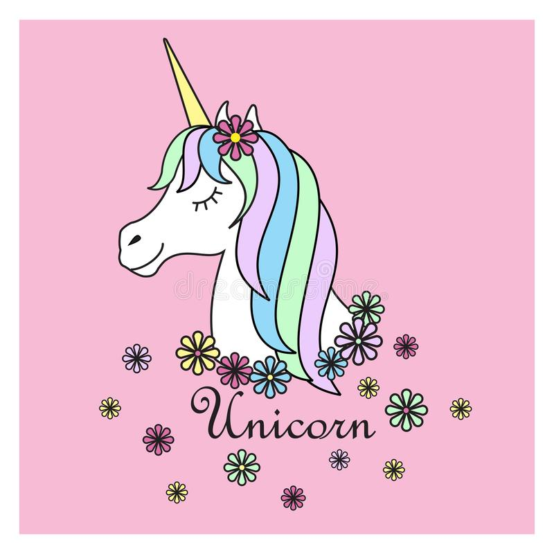 不可思议的逗人喜爱的独角兽海报,贺卡,例证 逗人喜爱的不可思议的动画片幻想逗人喜爱的动物 彩虹头发 梦想标志 皇族释放例证