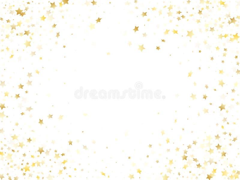 不可思议的金闪闪发光纹理传染媒介星背景 向量例证
