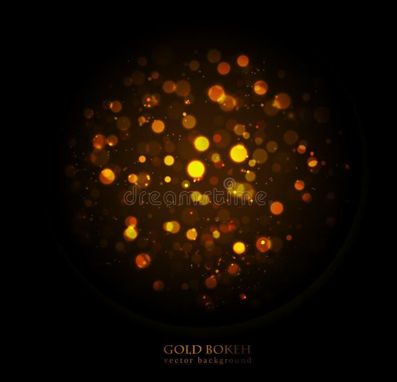 不可思议的闪闪发光,金子在黑暗的背景加点 皇族释放例证