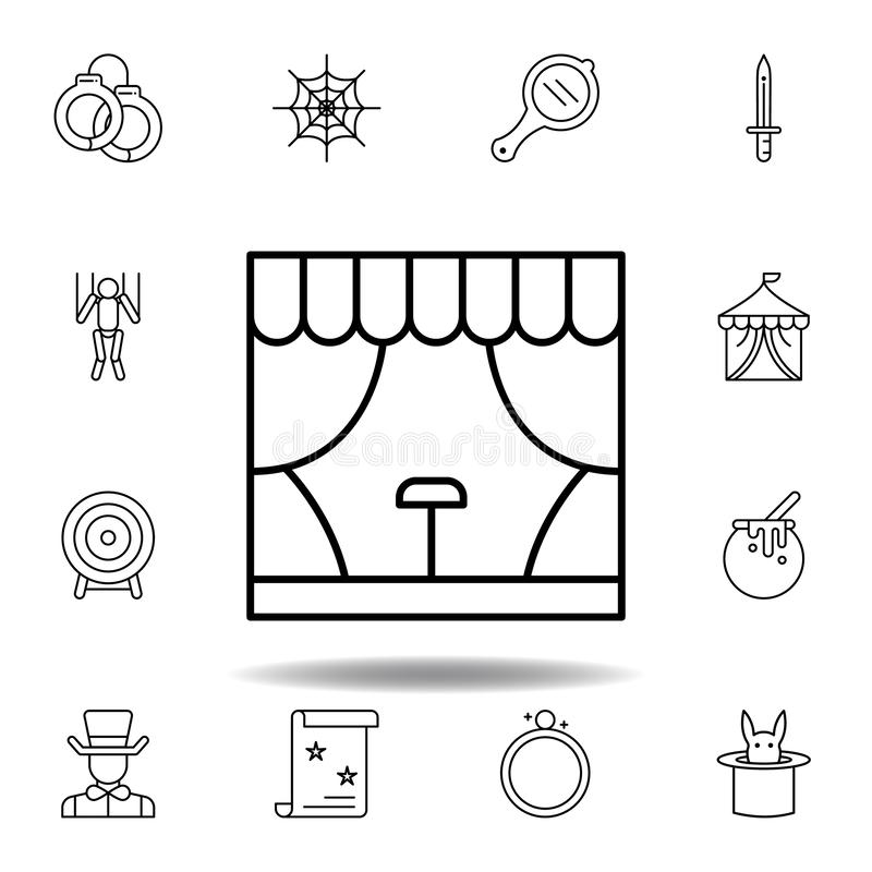 不可思议的阶段大厦概述象 不可思议的例证线象的元素 标志,标志可以为网,商标,流动应用程序使用 向量例证