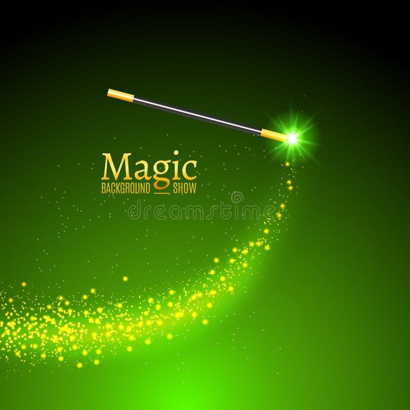 不可思议的鞭子传染媒介背景 奇迹有闪闪发光光的魔术师鞭子 库存例证
