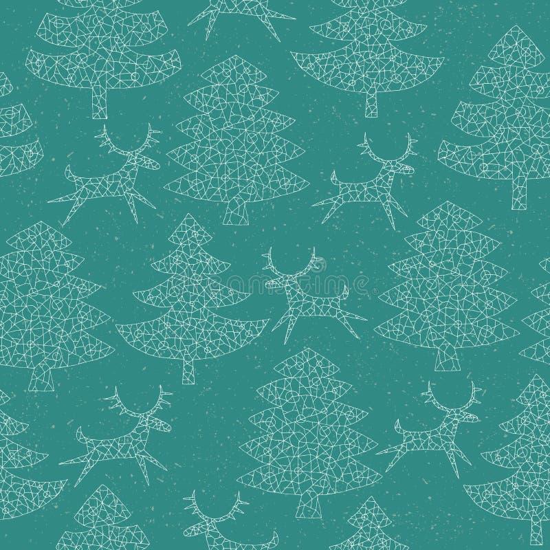 有驯鹿的不可思议的马赛克圣诞树森林 库存例证