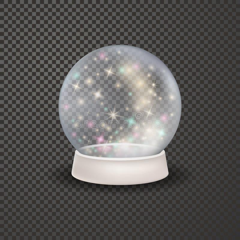 不可思议的3d水晶xmas snowglobe模板 库存例证