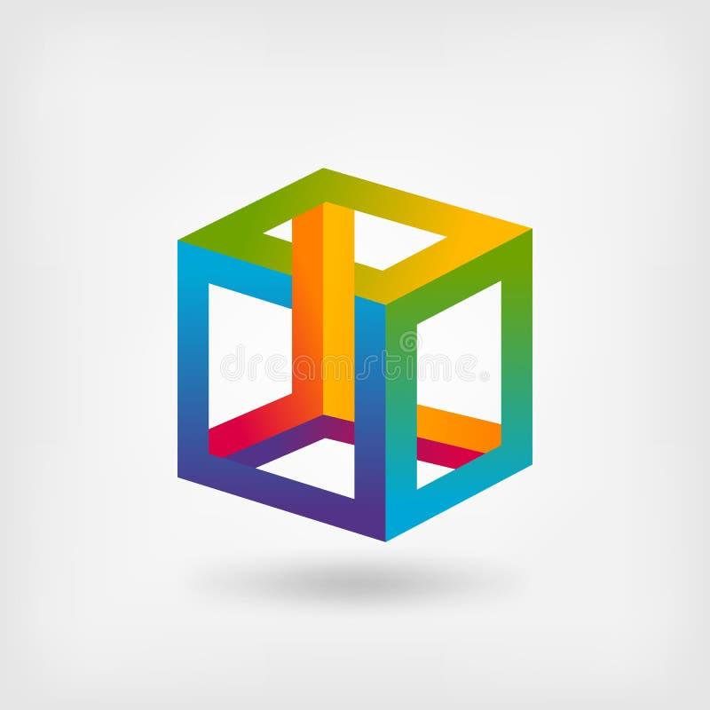 不可能的立方体多色抽象符号 皇族释放例证