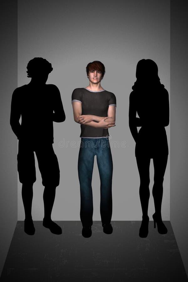 不可靠青少年的人社交恐怖症里面推力 向量例证