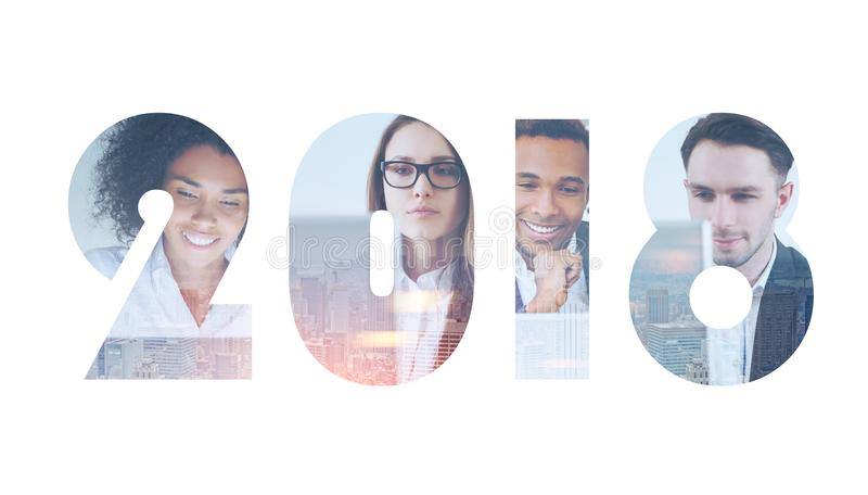 不同企业队2018新年,新的远景 免版税图库摄影