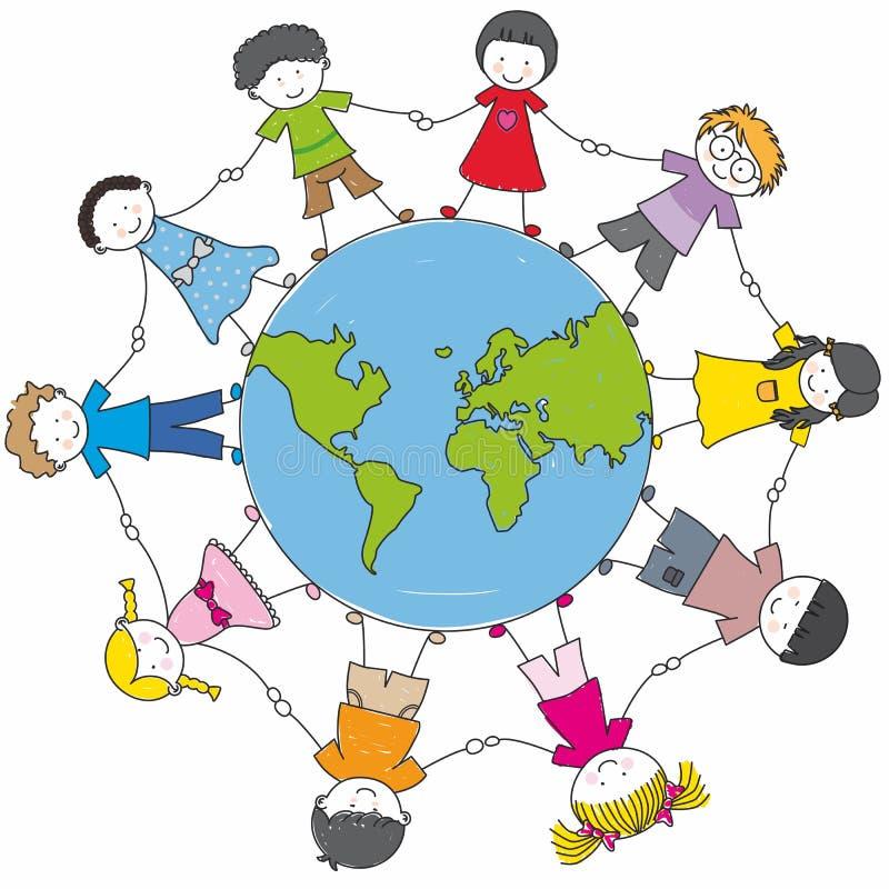 不同儿童的文化 向量例证