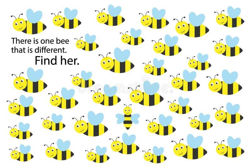 不同发现的蜂,春天乐趣教育孩子的难题比赛,孩子的学龄前活页练习题活动的任务 库存例证