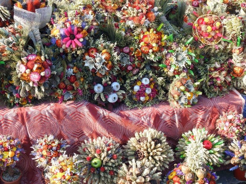 不同的五颜六色的植物花束,立陶宛 免版税库存图片