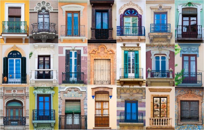 不同的五颜六色的西班牙窗口拼贴画  库存图片
