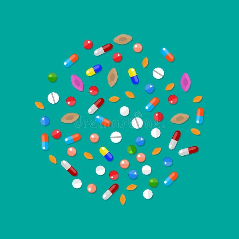 不同的五颜六色的医疗药片胶囊片剂 向量例证