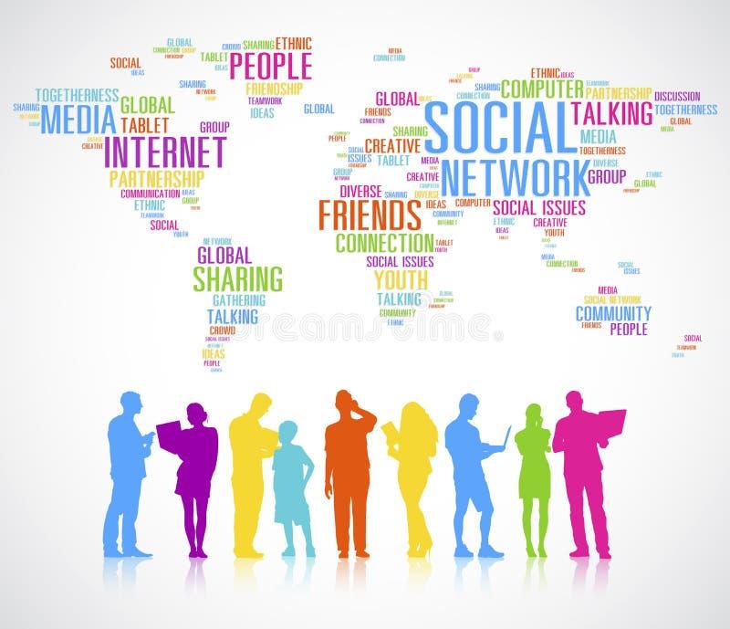 不同的人民的五颜六色的剪影全球性通信 库存例证