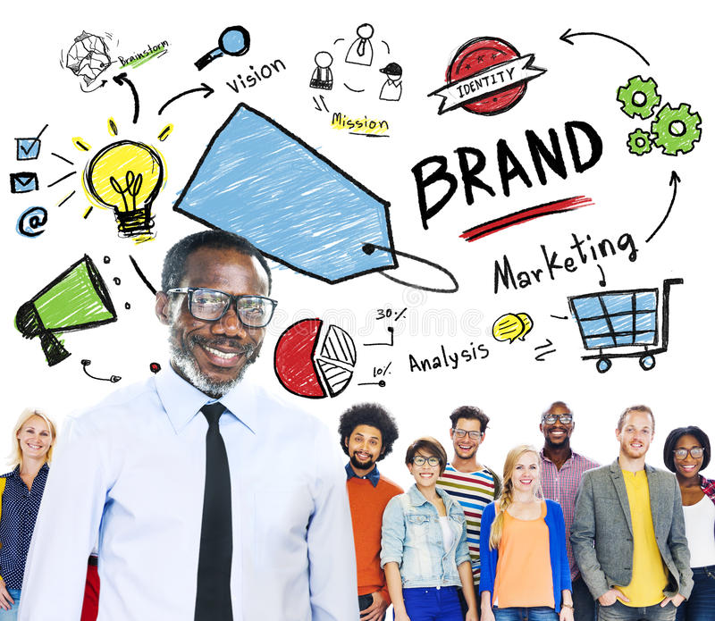 不同的人统一性队营销品牌概念 免版税库存图片