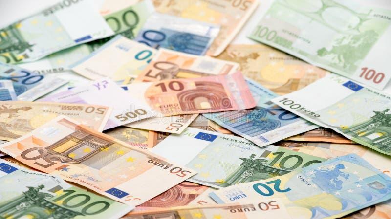 不同的价值欧元票据  欧元现金金钱 免版税库存图片