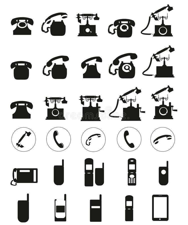 不同的传染媒介黑色电话象在白色背景设置了 库存例证