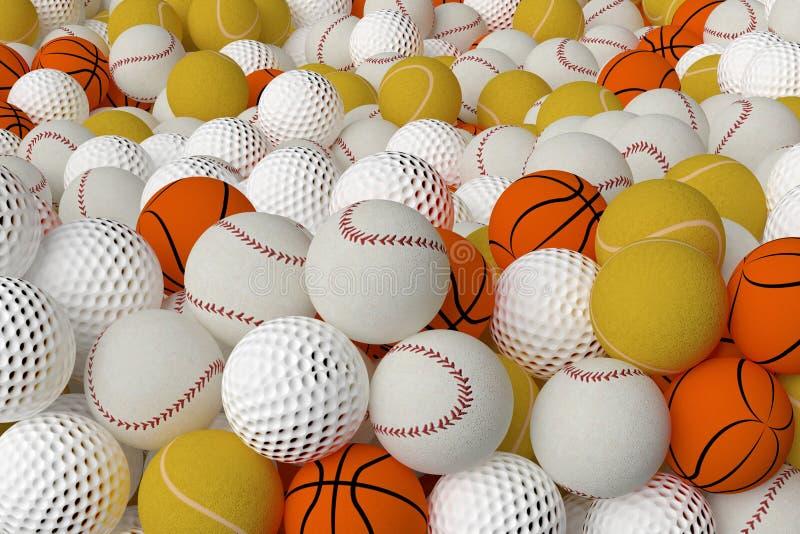 不同的体育球 向量例证