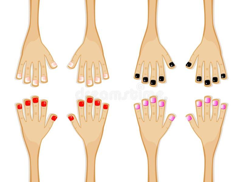 不同的修指甲 向量例证
