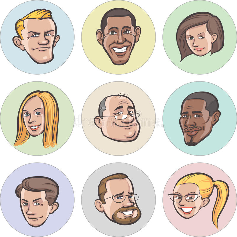 不同的动画片传染媒介人面孔的汇集 向量例证