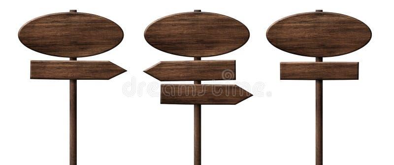不同的卵形木方向箭头路标或roadsigns做了黑暗的木头 免版税图库摄影