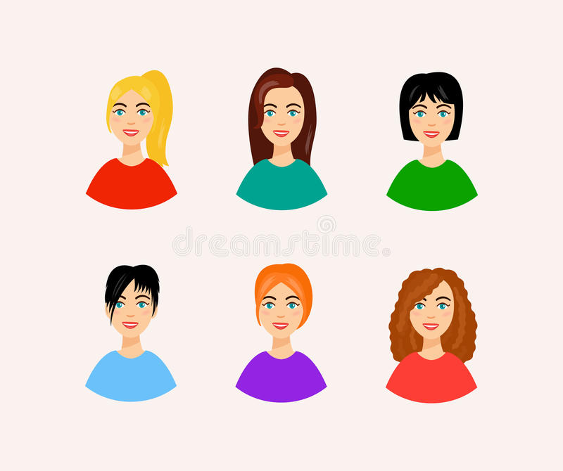不同的发型的例证 在动画片样式的微笑的妇女面孔 皇族释放例证