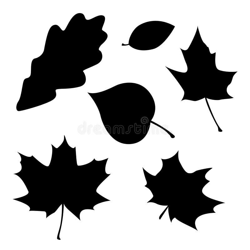 不同的叶子剪影 库存例证