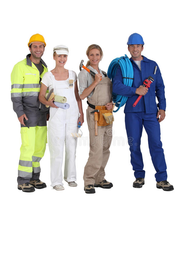 不同的四名贸易工作者 免版税图库摄影