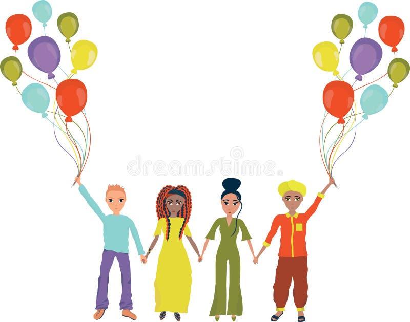 不同的国家友谊  不同的国籍的人们握手并且拿着气球 向量 皇族释放例证