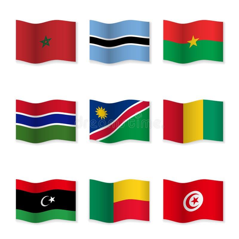 不同的国家挥动的旗子  皇族释放例证