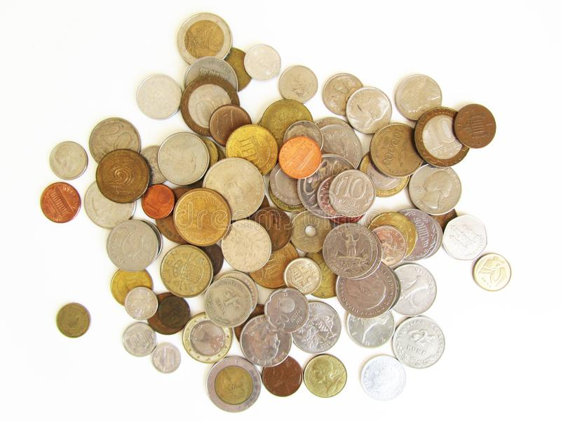 不同的国家硬币白色背景的 库存图片