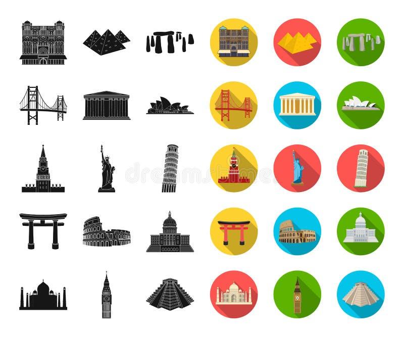不同的国家视域染黑,在集合汇集的平的象的设计 著名大厦传染媒介标志图片