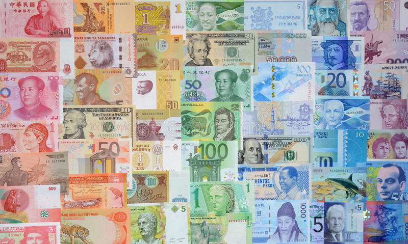 不同的国家(地区)的货币 免版税库存照片