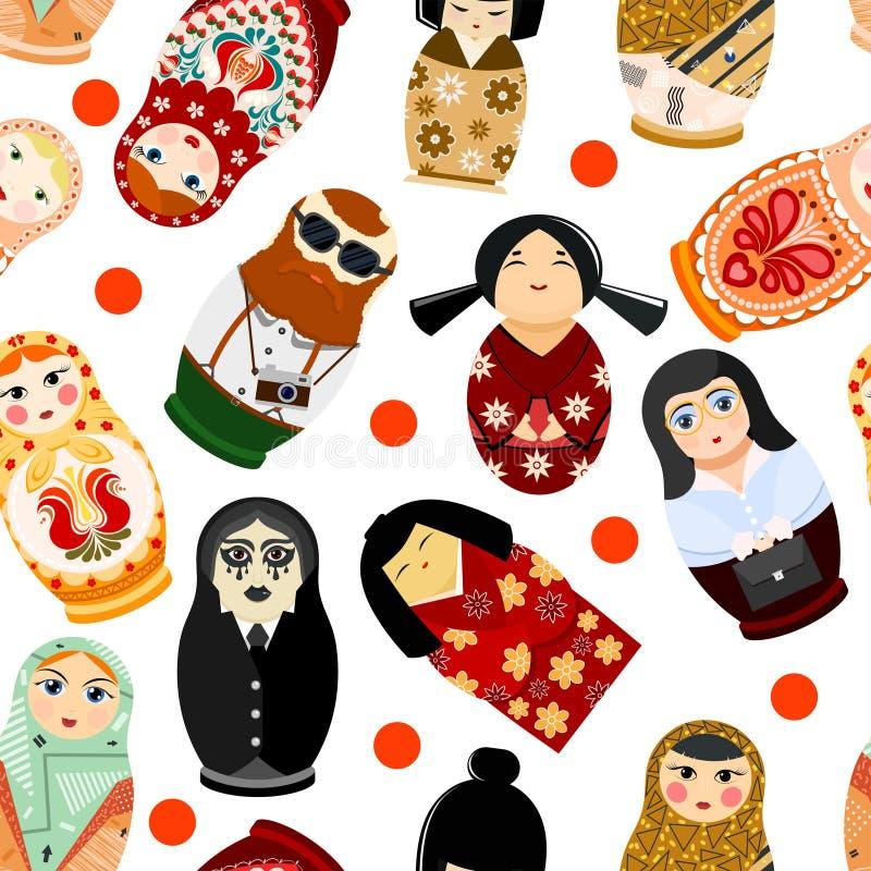 不同的国籍俄罗斯全国matreshka的玩偶matryoshka传染媒介matrioshka俄国玩具传统标志  皇族释放例证