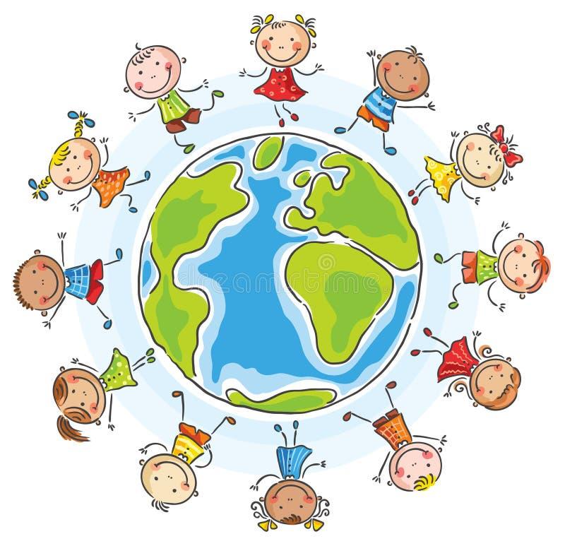 不同的国籍的孩子环绕地球 向量例证