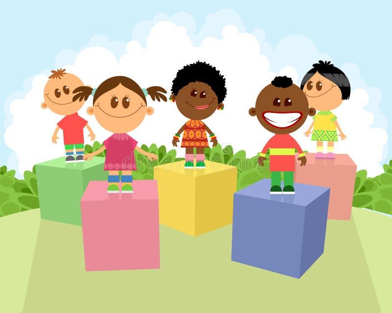 不同的国籍的孩子 库存例证