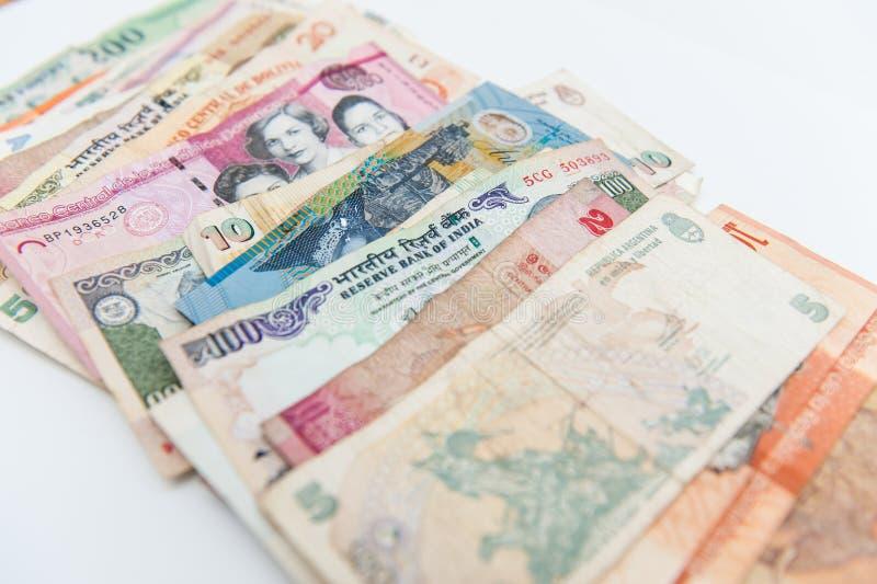 不同的国际钞票已经使用了 库存照片