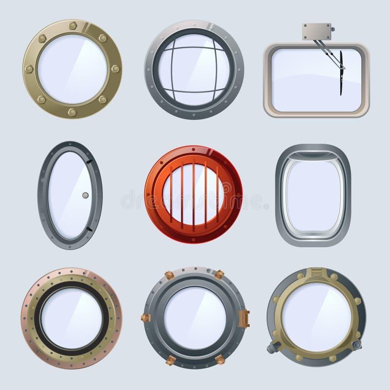 不同的圆的船和飞机舷窗 传染媒介在白色的例证孤立 皇族释放例证