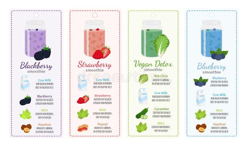 不同的圆滑的人食谱,标签-莓果,健康戒毒所 向量例证