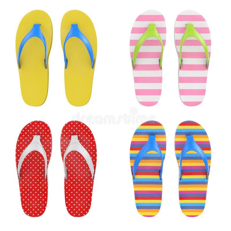 不同的多色触发器凉鞋 3d翻译 皇族释放例证