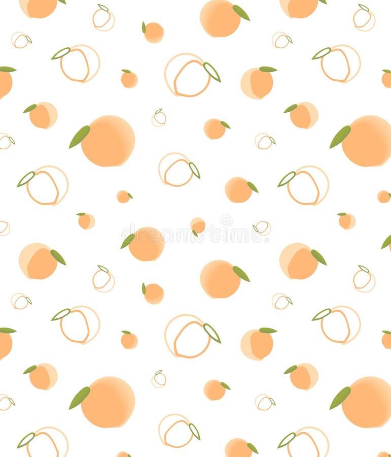 不同的大小成熟桃红色橙色桃子的无缝的样式  在白色背景的逗人喜爱的动画片桃子 皇族释放例证