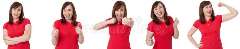 不同的女性情感和懊恼恼怒的妇女被隔绝的拼贴画画象的关闭  红色空白的T恤杉和深色的头发前面 库存照片