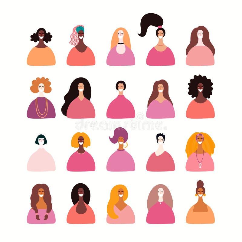 不同的妇女画象集合 皇族释放例证