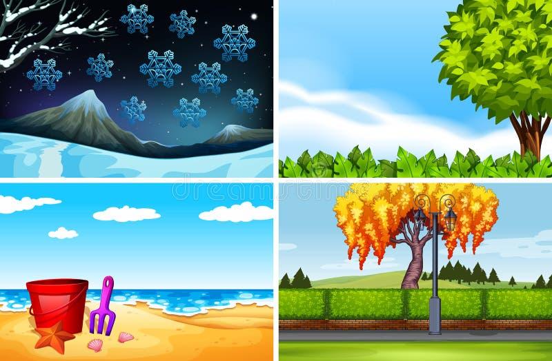不同的季节四个场面  库存例证