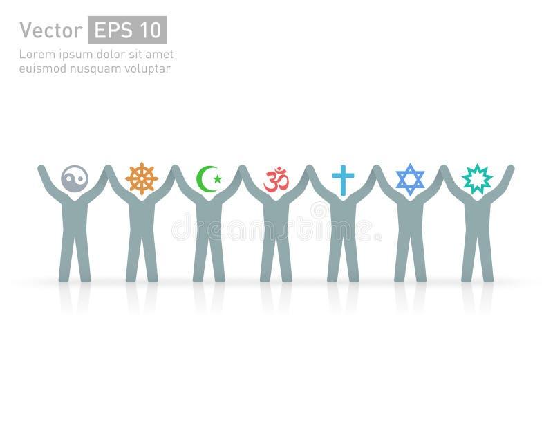 不同的宗教的人们 宗教传染媒介标志和字符 友谊和和平不同的信条的 库存例证