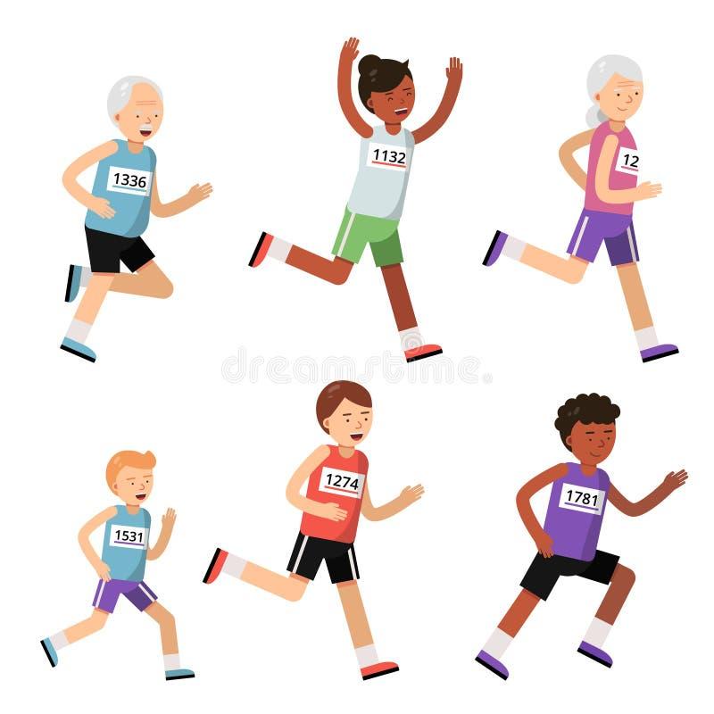 不同的年龄的连续人 男孩漫画人物女孩查出的体育运动向量 马拉松 向量例证