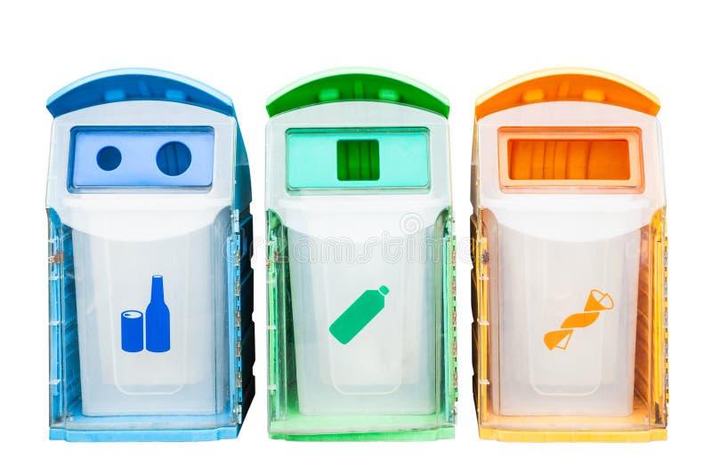 不同的废类型的五颜六色的塑料容器 库存图片
